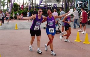 Rebecca and Perfect Goofy Gail during the 2005 Walt Disney World Triathlon - swimming, biking, and running with Team in Training.