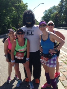 Stop running and take a photo? Sure (we're up for ANY reason to take a break)! Alison Jakeman Nicklas, Perfect Goofy Gail, the Heartbreak Hill Running Company Gorilla (he was out BOTH days cheering us on), Kimberly, and Pamela Potter Frost.