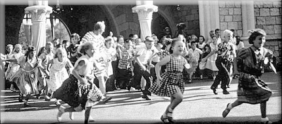 Children attend opening of Disneyland in 1955
