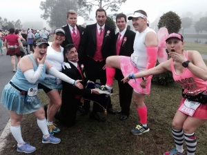 A little costuming peer pressure can go a long way...far enough to get your male friend to run in a skirt during the Princess Half Marathon ;)