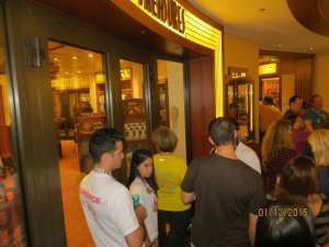 The line to purchase the official merchandise.