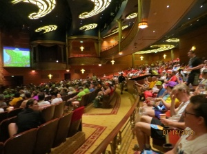 Over 700 runners assemble in the theater pre-race...