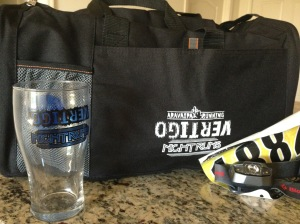 The SWAG! The gear bag was received with our bibs in place of a race shirt and the beer glass you earned at the finish line.